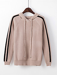 Women's Casual/Daily Regular Pullover,Striped Hooded Long Sleeves Polyester Nylon Fall Medium Micro-elastic