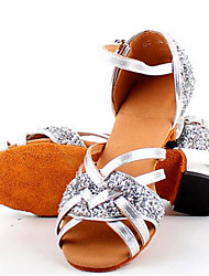 Kids' Latin Leather Sandals Practice Flat Heel Purple Silver Gold