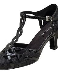Women's Modern Dance Shoes Net Sandals Heels Professional Buckle Customized Heel Girl's Dancing Shoes Silver Black