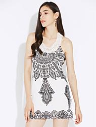 Women's Boho White/Black Halter Floral Print Beaded Sleeveless Mini Dress