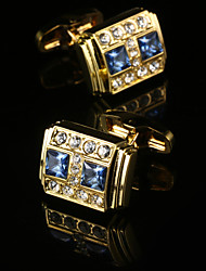 New Royal Crystal Golden Cufflinks Gold Plated Men French Shirt Cuffs Western Style Metal Square Sleeve Buttons Mens Jewelry