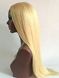 Nouveau!!!! Blanchiment blonde # 613 style droit glueless perruques avant en dentelle avec cheveux bébé 100% perruques de cheveux vierges