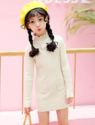Girl's Solid Striped Dress,Rayon Fall Winter Long Sleeve