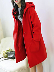 Women's Casual/Daily Simple Winter Coat,Solid Hooded Long Sleeve Long Wool Others