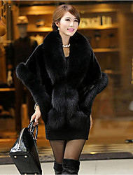 Women's Casual/Daily Simple Fall Winter Cloak/Capes,Solid V Neck ¾ Sleeve Regular Fox Fur