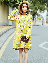 Women's Going out Casual/Daily Simple Active A Line Sheath Dress,Solid Floral Geometric Shirt Collar Above Knee Long SleevesCotton