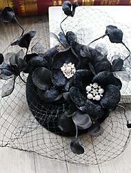 Tulle Imitation Pearl Rhinestone Fabric Organza Net Alloy Headpiece-Wedding Special Occasion Birthday Party/ EveningFascinators Hats Hair