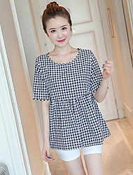 Pregnant Women Fashion Comfortable Cartoon Small Squares Short Sleeve Blouse Blouse Recreational Shorts Two-Piece