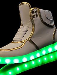 Homme Baskets Confort Polyuréthane Printemps Automne Décontracté Lacet LED Talon Plat Blanc Noir Moins de 2,5 cm