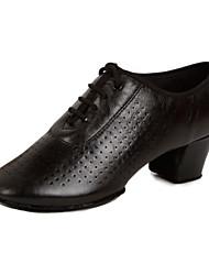 Damen Latin Echtes Leder Sandalen Sneakers Professionell Blockabsatz Schwarz
