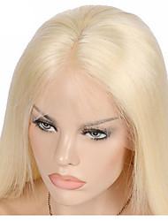 Mujer Pelucas de Cabello Natural Cabello humano Encaje Frontal Frontal sin Pegamento 130% Densidad Liso Peluca Negro Negro Corto Medio