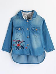 Девочки Рубашка Хлопок Вышивка Осень Длинный рукав