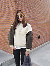 Sweatshirt Femme Sortie Couleur Pleine Col Arrondi Micro-élastique Coton Manches longues Automne