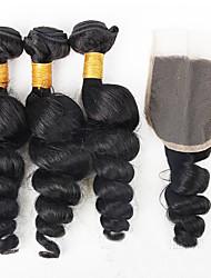 La trama floja del pelo de la onda del pelo virginal brasileño 3pcs / 300g con el pelo humano crudo de la parte libre del cierre del