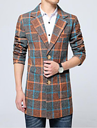 Men's Casual/Daily Simple Fall Winter Trench Coat,Striped Peaked Lapel Long Sleeve Long Others