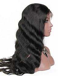 Mujer Pelucas de Cabello Natural Del frente del cordón Pelucas 130% Densidad Con mechones Ondulado Grande pelucas Brasileño Negro Corto