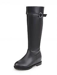 Mujer Zapatos Semicuero Primavera Invierno Confort Innovador Botas de Moda Botas Tacón Cuña Dedo redondo Hasta la Rodilla Cremallera Para