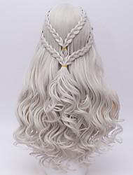 Women Synthetic Wigs Capless Long Deep Wave Silver Halloween Wig Costume Wig