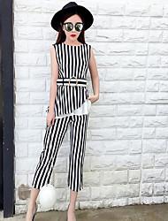 Mujer Simple Casual/Diario Verano T-Shirt Pantalón Trajes,Escote Redondo A Rayas Ajedrez Sin Mangas