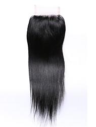 10 pouces grade 8a fermeture à lacets 4x4 100% usine de cheveux humains brésiliens Vente en gros parfait # 1b naturel noir fermeture à