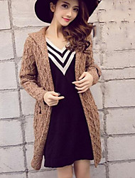 Women's Casual/Daily Regular Cardigan,Solid Hooded Long Sleeves Others Winter Thick Micro-elastic