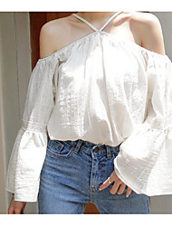 Women's Casual/Daily Simple Blouse,Solid Off Shoulder Long Sleeves Polyester