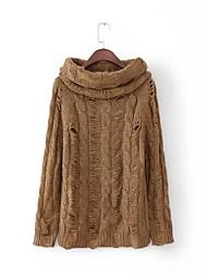 Для женщин На выход На каждый день Простое Очаровательный Обычный Пуловер Однотонный,Круглый вырез Длинный рукав Шерсть Хлопок Другое