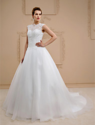 Ball Gown Illusion Neckline Chapel Train Lace Organza Wedding Dress with Beading Buttons by LAN TING BRIDE®