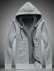 Men's Casual/Daily Regular Cardigan,Solid Hooded Long Sleeves Cotton Fall Winter Medium Micro-elastic