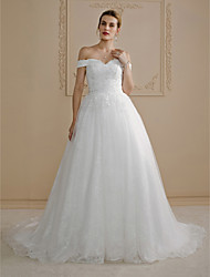 Ball Gown Off-the-shoulder Court Train Lace Wedding Dress with Beading Appliques by LAN TING BRIDE®
