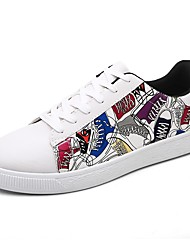 Для мужчин Кеды Обувь для дайвинга Весна Осень КожаПВХ Повседневные Шнуровка На плоской подошве Белый Черный Черно-белый На плоской