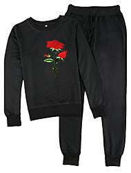 Sweat à capuche Pantalon Costumes Femme,Imprimé Sports Vacances Sortie Décontracté / Quotidien Chic de Rue Automne Hiver Manches longues