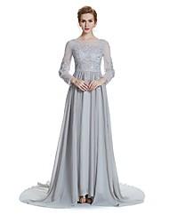Linha A Decorado com Bijuteria Cauda Corte Chiffon Vestido Para Mãe dos Noivos  -  Detalhes em Cristal Bordado Faixa / Fita de