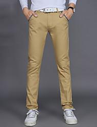 Hombre Sencillo Tiro Medio Inelástica Chinos Pantalones,Corte Recto Un Color
