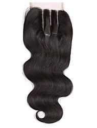 3 части кружева закрытия 4x4 тела волны человеческие волосы закрытие кусок с ребенком волосы натуральный черный цвет нет отбеленных узлов