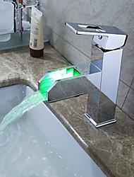 Moderne Vasque Jet pluie Couleurs changeantes with  Soupape céramique Mitigeur un trou for  Chrome , Robinet lavabo