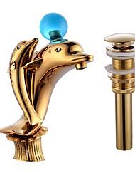 По центру Фигурные ножки with  Керамический клапан Одной ручкой одно отверстие Ванная раковина кран