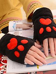 Для женщин Аксессуары На каждый день Мультяшная тематика Зимние перчатки Сохраняет тепло Милый Мода До запястья Полупальцами,Осень Зима