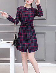 Women's Sports Going out Work Vintage Street chic Sophisticated Sheath Dress,Striped Round Neck Above Knee Long Sleeves Others Fall Winter