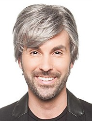Men Synthetic Wig Capless Short Straight Grey Cosplay Wigs Natural Wig Costume Wig