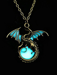 Men's Women's Pendant Necklaces Circle Dragon Wings / Feather Bronze Fluorescent Alloy Animal Design Punk Illuminated Costume Jewelry