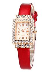 Mulheres Relógio de Moda Relógio de Pulso Quartzo Strass Couro Banda Casual Preta Branco Azul Vermelho Marrom Rosa Roxa Rose
