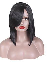 Mujer Pelucas sintéticas Sin Tapa Medio Liso Ondulado Natural Negro Pelo de seda base Entradas Naturales Parte lateral Corte Bob Peluca