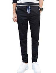 Men's Mid Rise Inelastic Skinny Chinos PantsSimple Slim Solid WL-8170