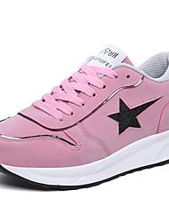 Для женщин Обувь Натуральная кожа Весна Осень Удобная обувь Спортивная обувь Для прогулок На платформе Круглый носок Шнуровка Назначение