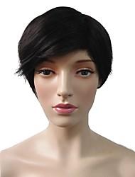 Mujer Pelucas sintéticas Sin Tapa Corto Liso Negro Peluca natural Peluca de fiesta Peluca de celebridades Peluca de Halloween Pelucas