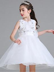Robe de Soirée Courte / Mini Robe de Demoiselle d'Honneur Fille - Organza Sans Manches Bijoux avec Paillette Fleur(s) Ceinture / Ruban
