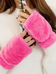 Для женщин Однотонный Аксессуары На каждый день Зимние перчатки Сохраняет тепло Мода До запястья Полупальцами,Зима Шерсть Однотонный
