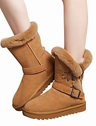 Для женщин Обувь Натуральная кожа Наппа Leather Кожа Зима Удобная обувь Зимние сапоги Модная обувь Меховая подкладка Ботинки На плоской