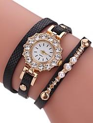 Femme Montre Tendance Bracelet de Montre Montre Diamant Simulation Chinois Quartz Imitation de diamant Polyuréthane Bande Perles Pour